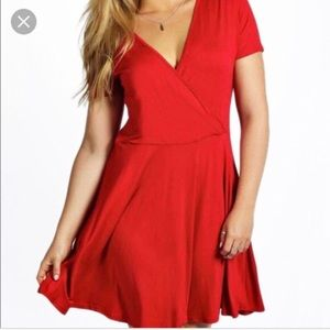 Red Faux wrap dress